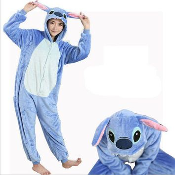 DCCKU62 Women Character Stitch Pajamas Set Adult Coral Fleece Sleepwear Animal Pajama Womens Full Sleeve Hooded Pijama Flannel Pijamas
