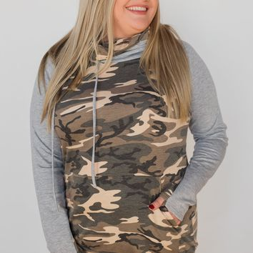 For the Love of Camo Cowl Neck Hoodie- Heather Grey