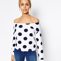 ASOS Sweatshirt with Off Shoulder and Spot Print