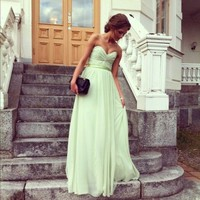 A-line Sweetheart Floor-length Chiffon Prom Dress  at Msdressy