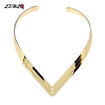 LZHLQ North Africa Torques Collar Chokers Fashion 3 Layer Bright Metal Weld Bib Women Necklaces 2019 Statement Jewelry