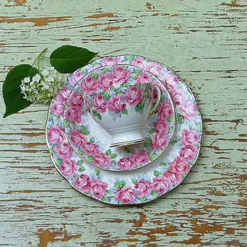 "Vintage Pink Roses Tea Cup and Saucer Trio, Royal Standard Floral Bone China, England, ""Rose of Sharon"" Teacup, Kitchenalia, Cottage Decor"
