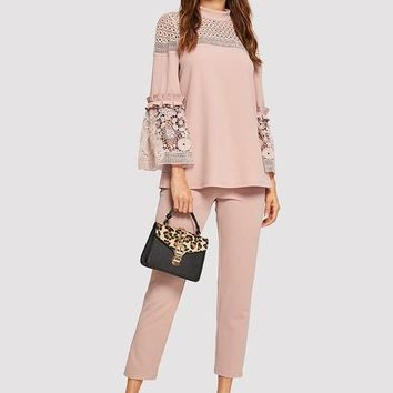Pink Lace Top with Matching Ankle-Length Pants
