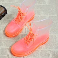 Women's NEW Rubber Jelly Transparent Crystal Rainboots Martin/Ankle Boots US 5-9