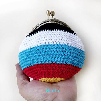 Archery Target 5 Colors Coin Purse Rhinestone Kiss Clasp Frame Change Purse Crochet Money Pouch Niatta