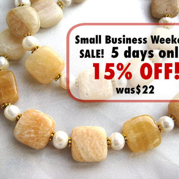 Sunny Italian onyx & freshwater pearl necklace. Yellow, gold, brown and white calcite jewelry. Long necklace. Translucent, striated stones
