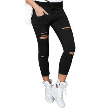 DCCKUN6 2017 Cotton High Elastic Imitate Jeans Woman Solid Skinny Pencil Pants Slim Ripped Jeans For Women Black White Ripped Pants XXL
