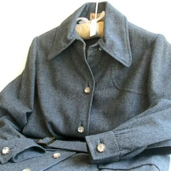 1970s BH Wragge Wool Coat Dress Belted Charcoal Gray, Designer 70s Mid Century Vintage Fashion