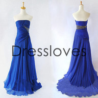 Chiffon Strapless Beading Royal Blue Pleated Prom Dress Prom/Evening/Party/Homecoming/Bridesmaid/Cocktail/Formal Dress/2013 New Arrvial