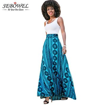 SEBOWEL Floor Length Summer Bohemian Skirt A Line High Waist Long Skirt Women Geometric Print Fashion Boho Maxi Skirt Beach Wear