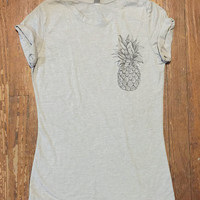 Pineapple Pocket Tee Shirt Funny TShirts - Womens Graphic Tees Shirts - Teens Girls printed TShirt