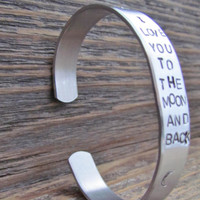 Bracelet Hand Stamped I LOVE You To The MOON And Back Cuff Aluminum Kids Toddler Childrens Jewelry Made To Order