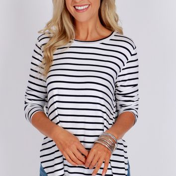 Striped Long Sleeve T-Shirt White