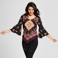 Women's Printed Hankerchief Hem Bell Sleeve Top - 3Hearts (Juniors') Purple