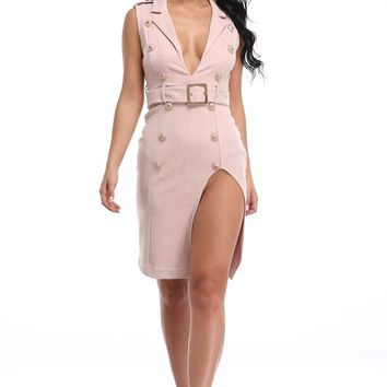 Honey Couture GIGI Apricot Pink Deep V Neck Slit Dress