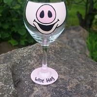 "Pig Face ""Wine Hog"" hand-painted wine glass"