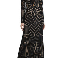 BCBG Veira Long-Sleeve Engineered Lace Gown
