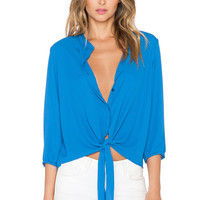 Three Eighty Two Ryder Tie Front Blouse in Ocean