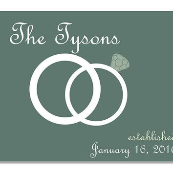 Personalized Family Established with Wedding Rings Print Wall Art