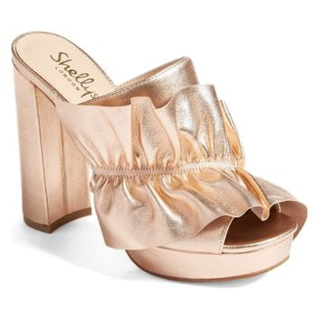 Shellys London Women's Rose Gold Delphine Platform Mules/Slides