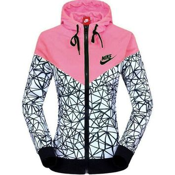 DCCKNQ2 NIKE Women Zip Hooded Sweatshirt Jacket Sport Cardigan Coat Windbreaker