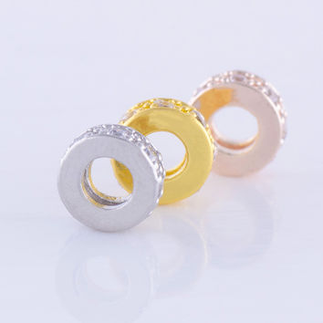 Gold Silver Micro Pave Clear Cubic Zircon Jewlery Accessories Brass Metal Small 7MM Beads For Handmade Earring