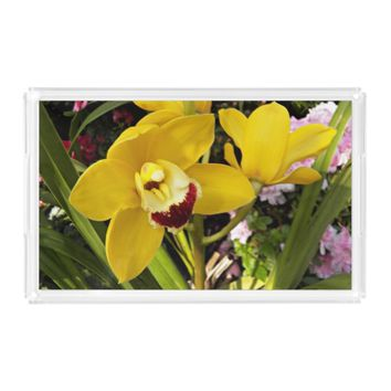Yellow Boat Orchid Floral Serving Tray