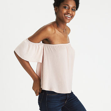 AEO Silky Off-the-Shoulder Top, Blush