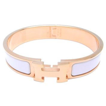 Auth Hermes Enamel Pink Gold Plated Clic H PM Bracelet Bangle (DH48801)