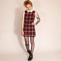 Ark for Women Ark Burgundy Heather Peter Pan Collar Tartan Shift Dress