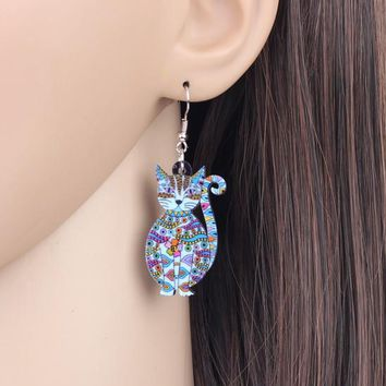 Acrylic Floral Drop Dangle Earrings