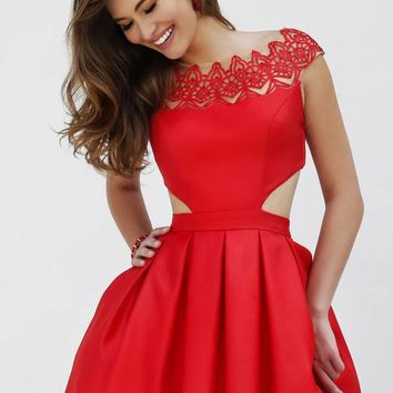 Sherri Hill 9756 Short Dress Cap Sleeves Cut-Out Sides Pleated Skirt