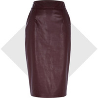 River Island Womens Dark red leather-look pencil skirt