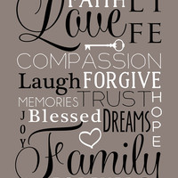 "Family Love Art, Custom Color Choices, Art Print 8""x10"" - Family Word Collage, Faith, Blessed, Memories, Key, Heart - Gift for Family"