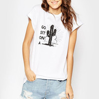 White Cactus Pattern T-Shirt