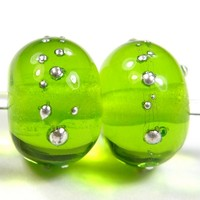Transparent Med Grass Green Handmade Lampwork Glass Beads Silver 22gfs