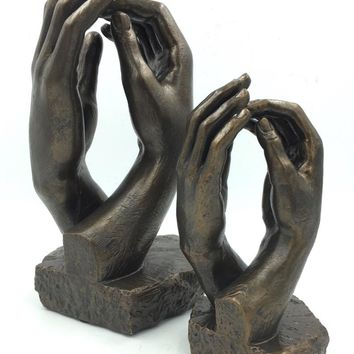Rodin Cathedral Clasping Hands Gesture of Togetherness Statue, Assorted Sizes