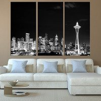 Washington Seattle skyline night Canvas Print wall art, extra large wall art, canvas art for large wall, Seattle art print wall decor t119