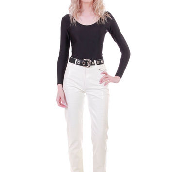 90s PVC White Pants Snakeskin Embossed High Waist Skinny Fit Plastic Vegan Leather Look Minimalist Chic Vintage Womens Size XS