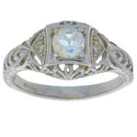 Natural Mercury Mist Mystic Topaz & Diamond Round Ring .925 Sterling Silver