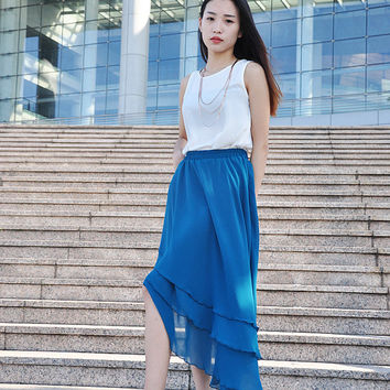Irregular High Low Skirt Midi Skirt Chiffon Bridesmaid Skirts Maxi Skirt (038), #14