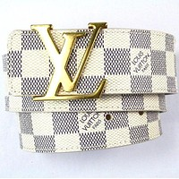 Louis Vuitton Women Men Golden LV Letter Smooth Buckle White Check Leather Belt I/A