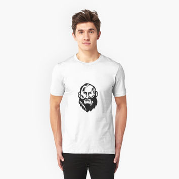 'Male Big Beard Woodcut' T-Shirt by patrimonio