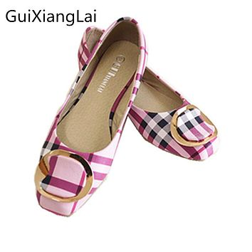 Guixianglai 2018 Korean New Fashion Spring Women Flats Shoes Ladies Bow Square Toe Slip-On Flat Women's Shoes Plus Size 35-42