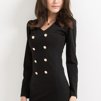 Long Sleeved Black Dress with Buttons Details