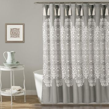 Mandala Medallion Grey Boho Tassel Shower Curtain