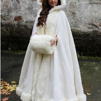 Bridal Cape Wedding Cloaks Hooded with Faux Fur Trim Warm Adult Winter For Winter Bridal Wraps