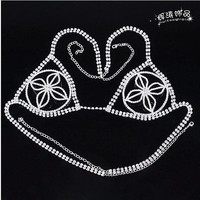 Hot Sexy Fashion exquisite crystal rhinestone bride bra Women's chest chain new