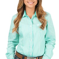 Cinch Women's Turquoise & White Stripe Long Sleeve Western Shirt