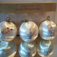 Vintage Betsey Clark Christmas Ornaments 1975 Hallmark White Satin Balls Retro Holiday Home Decor